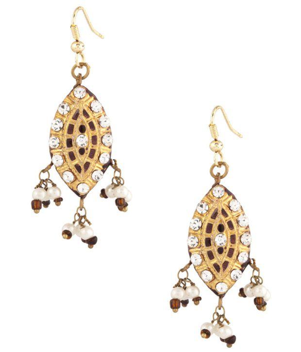Voylla Beautiful Dew Drop Brown Meenakari Lac Earrings