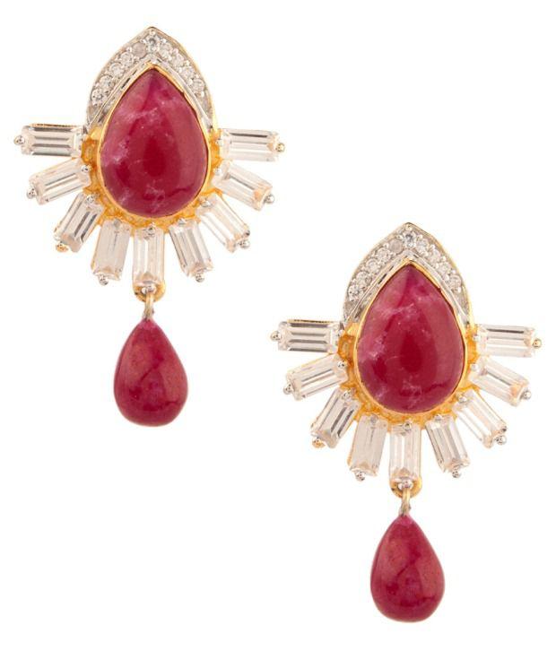 Voylla Dew Drop Style Maroon Stone And Crystal Earrings