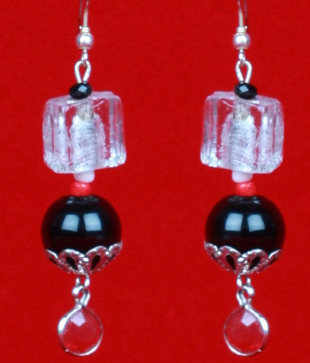 Voylla Earrings with Black and transparent beads