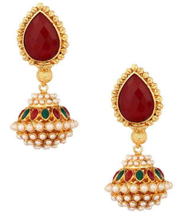 Voylla Gold Plated Drop Earrings With Pearl Beads; Maroon Stone