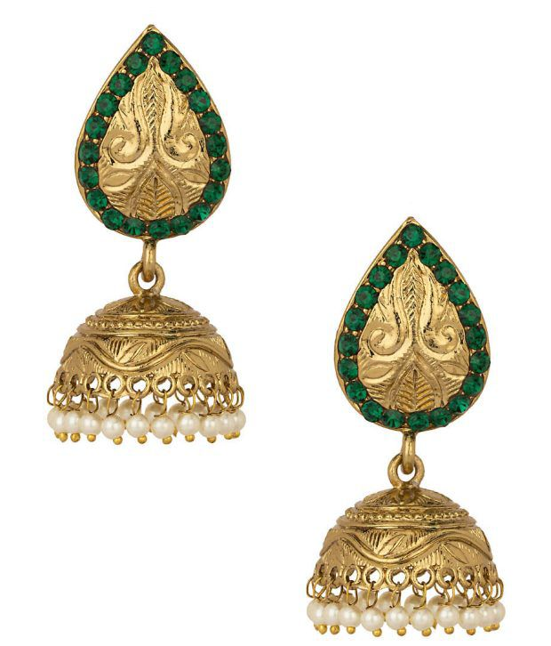 Voylla Gold Plated Jhumkis Embellished With Pearl Beads; Green Stones