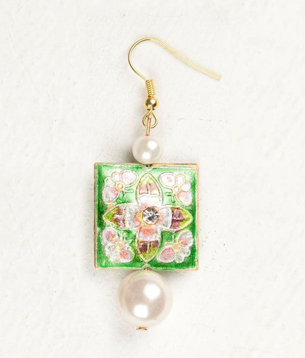 Voylla Meenakari Square Earring With Pearl Drops