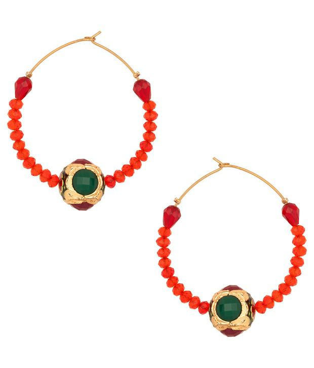 Voylla Pair Of Gold Plated Hoops With Red Stones; Meenakari Work