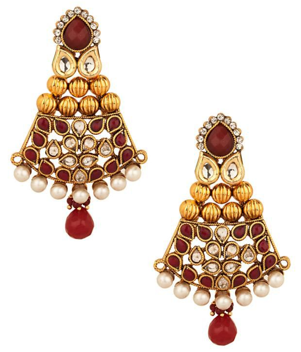 Voylla Pair of Earrings with Exuberant Red; White Crystal Encrusted Design