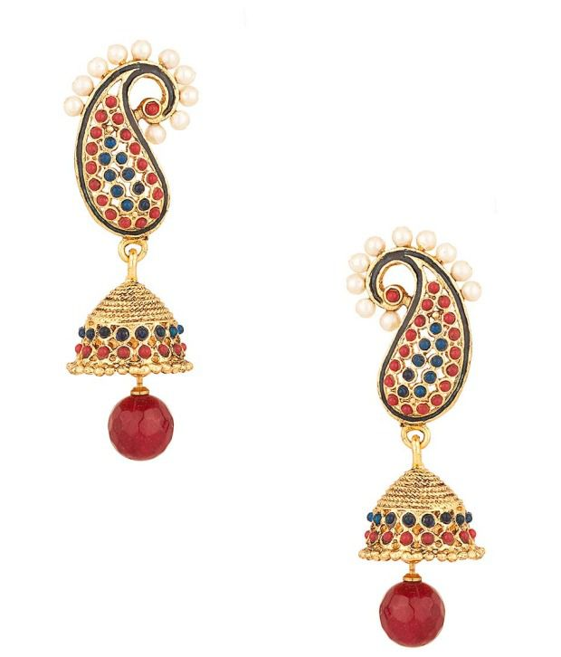 Voylla Paisley Shaped Jhumki Earrings with Drop; Red; Blue Crystals