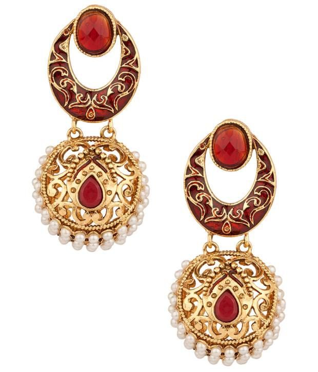Voylla Red Minakari; Filigree Work Pearl Earrings