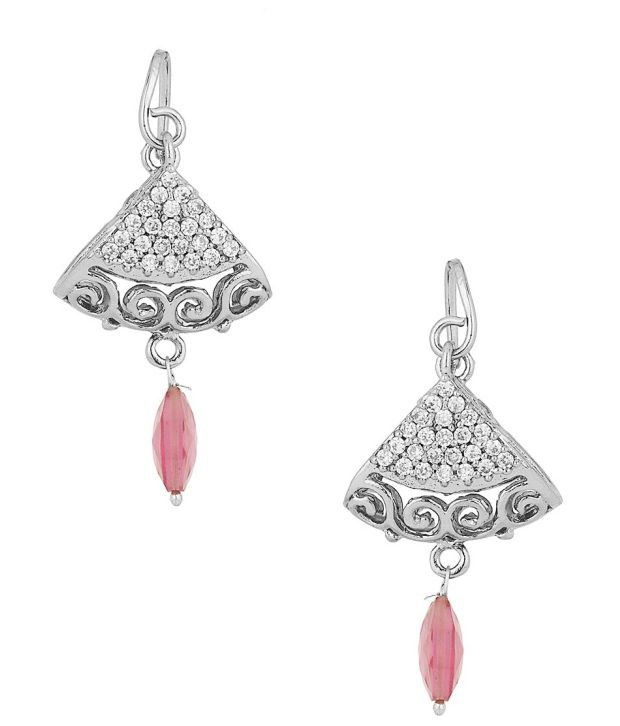 Voylla Rhodium Plated Earrings Studded With Cz; Maroon Drops