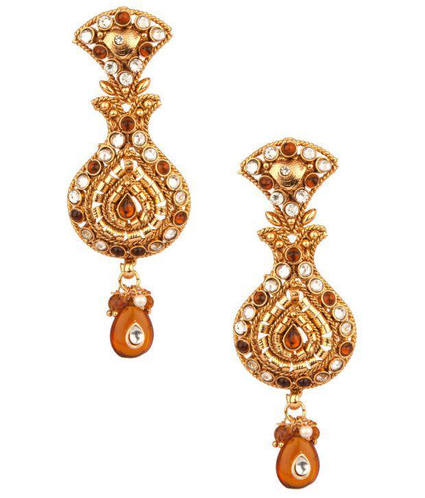 Voylla Stunning Tear Drop Style Golden Earrings