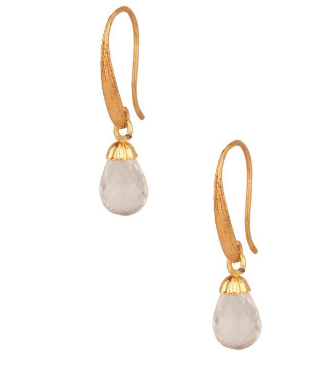 Voylla Stylish Gold Plated; Crystal Drop Earrings