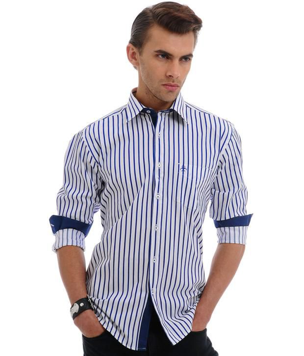 f80ac1e7 Cairon White and Blue Striped Shirt - Buy Cairon White and Blue Striped  Shirt Online at Best Prices in India on Snapdeal