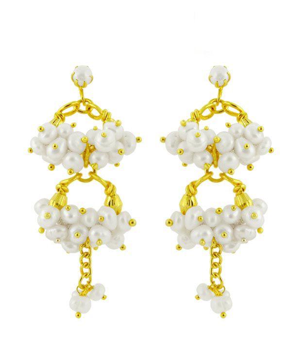 Sri Jagdamba Pearls Gorgeous Jhumka Style White Earrings