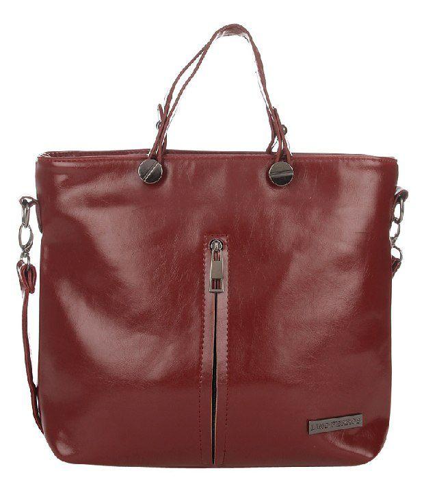 Lino Perros LWHB01679 Maroon Satchel Bag