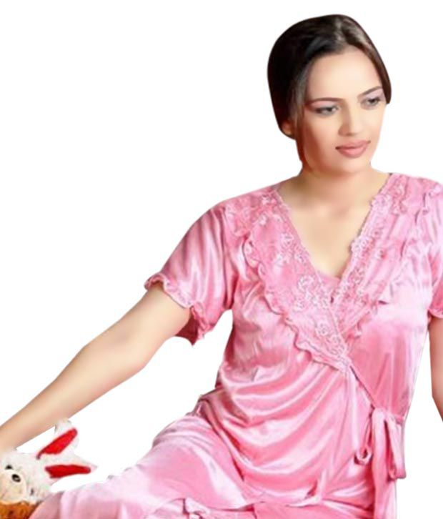 Myra Feminine Pink Nightwear Set Of 2