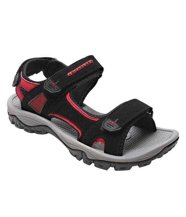 Nicholas Black & Red Floater Sandals