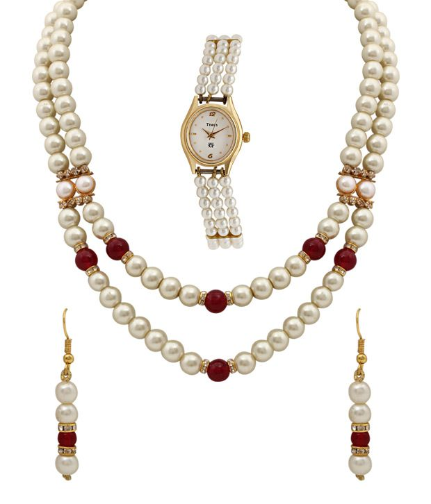 Oleva Striking Pearl Necklace Set With Triple Pearl String Watch