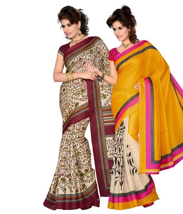 Combo of 2 Bhagalpuri  Multicolor Sarees