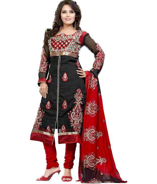 Khazana Black Faux Georgette Unstitched Dress Material