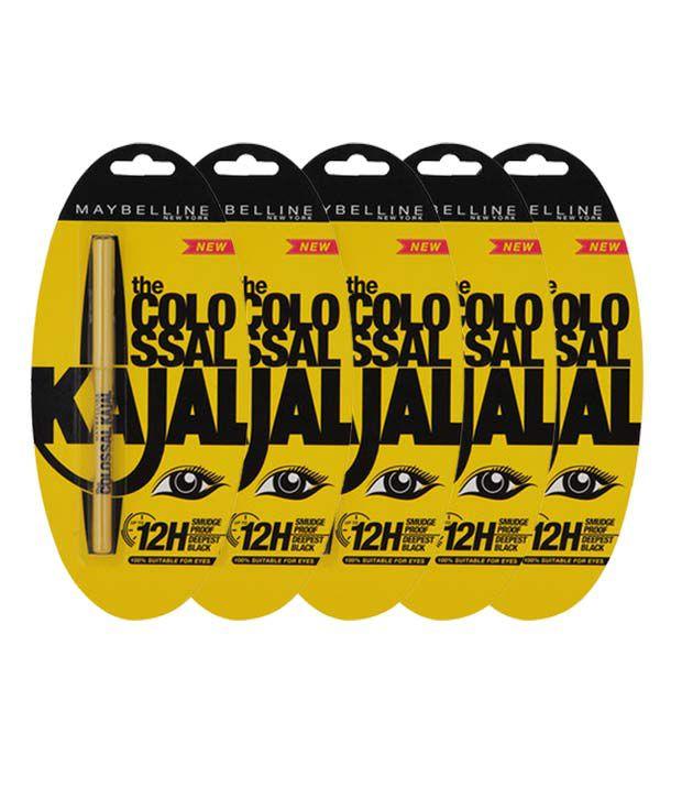 Maybelline Colossal 12H Black Kajal Pack of 5