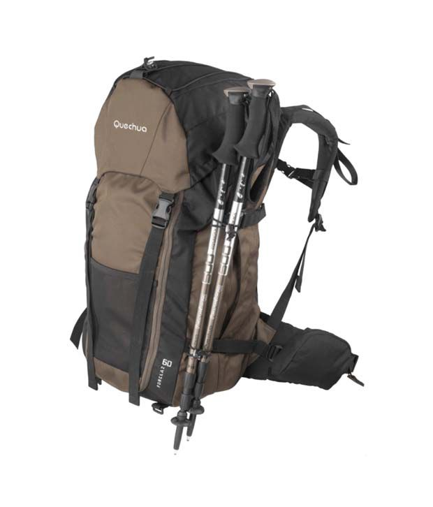 c169be71a ... Quechua Forclaz 60 Brown Hiking Travel Backpack   Pole Holder 1339595
