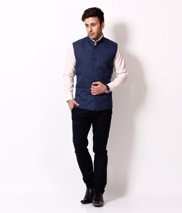 RPB Combo of Black Shirt and Blue Sleeveless Nehru Jacket - Buy
