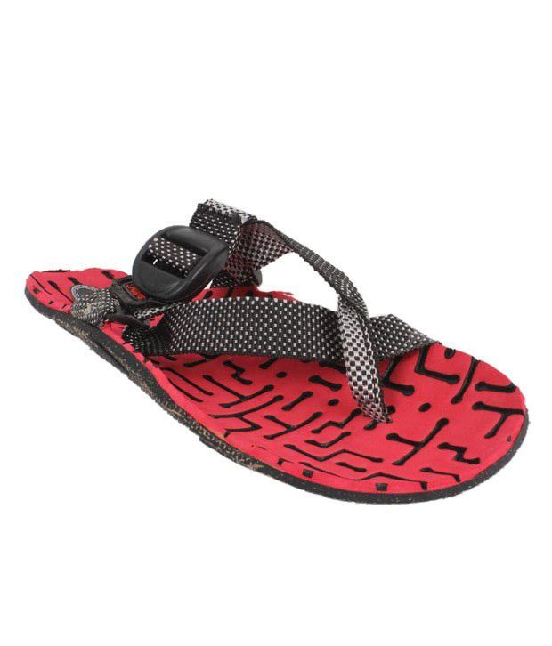 Roony Red & Black Floater Sandals