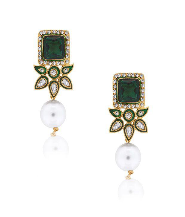 Spargz Dangling Kundan Pearl Earrings
