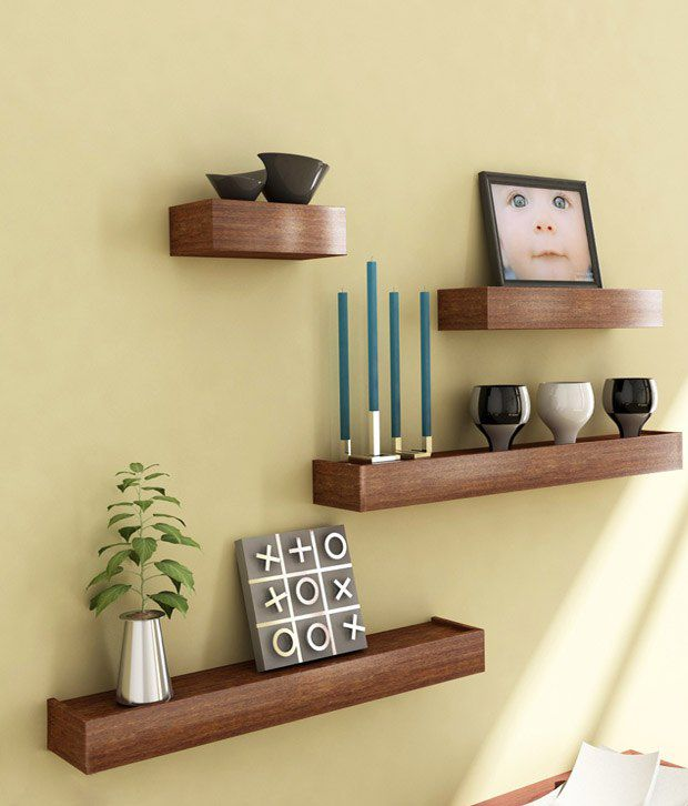 Home Sparkle Set Of 4 Brown Shelves Wall Hanging: Buy Home Sparkle