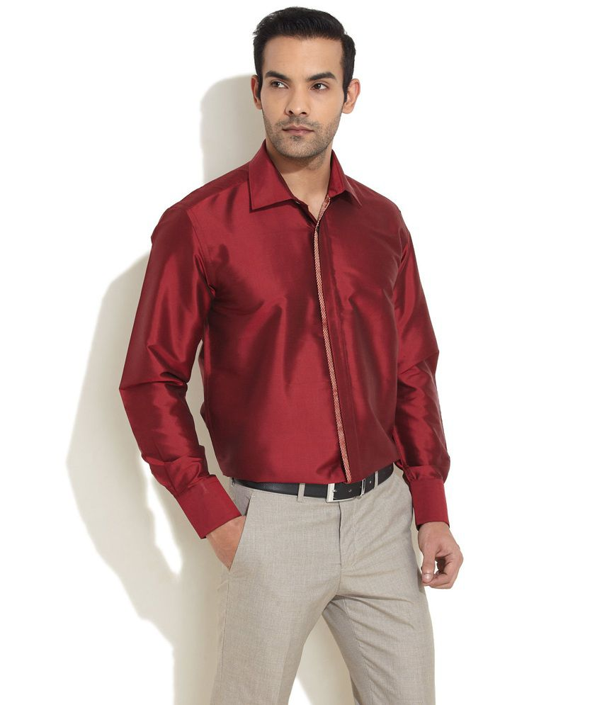 7579accb6df96 Mark Anderson Aristo Silk Shirt With Concealed Placket Red Shirt - Buy Mark  Anderson Aristo Silk Shirt With Concealed Placket Red Shirt Online at Best  ...