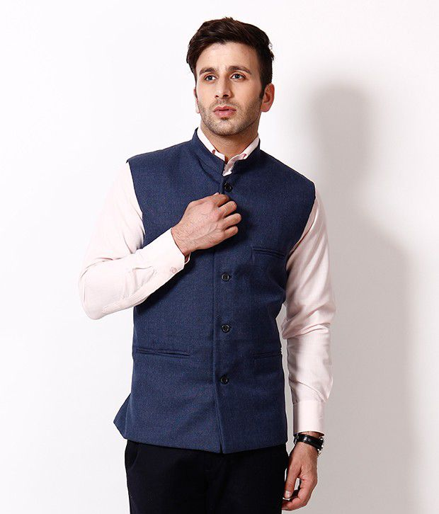 Rpb Elegant Dark Blue Nehru Jacket Buy Rpb Elegant Dark