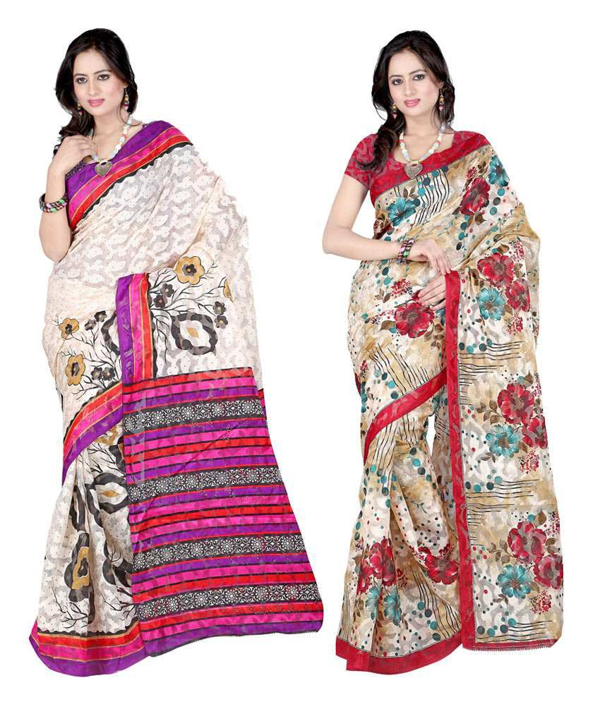 Sanju Stylish Purple & Red Colour Sarees Set Of 2