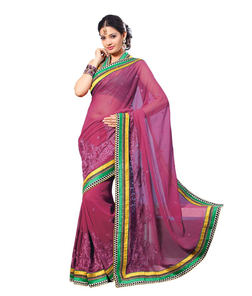 Designer Suvastram Magnificient Maroon Faux Chiffon Saree With Raw Silk Blouse Piece