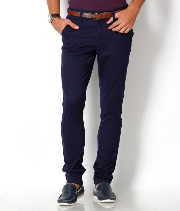 Urban Navy Trendy Dark Blue Slim Fit Chinos
