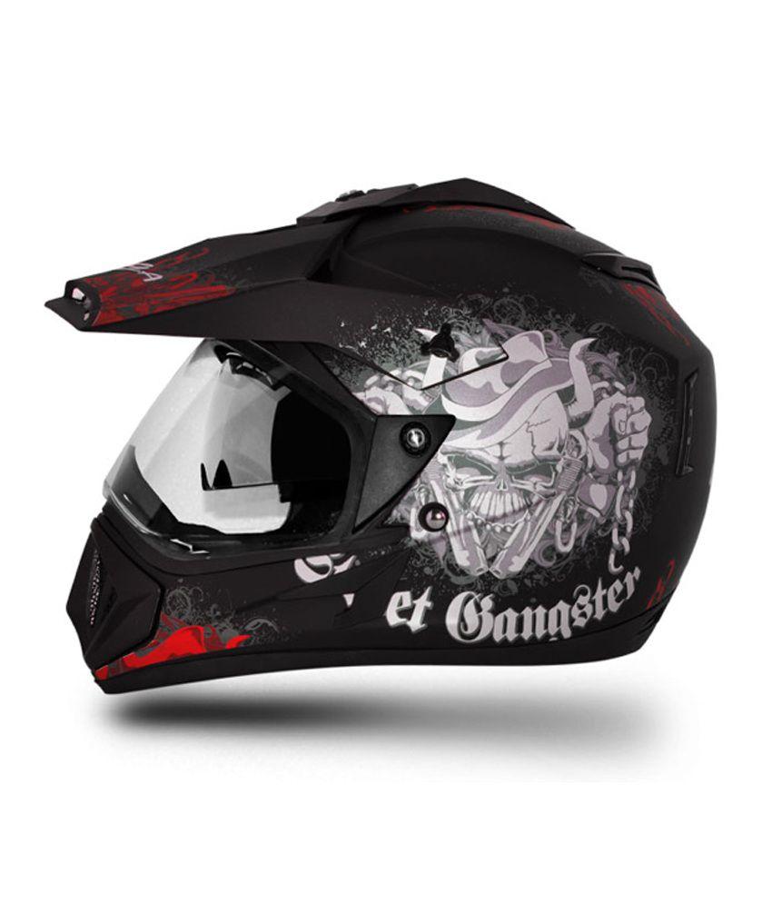 Vega Helmet Off Road Gangster Dull Black Base With Red
