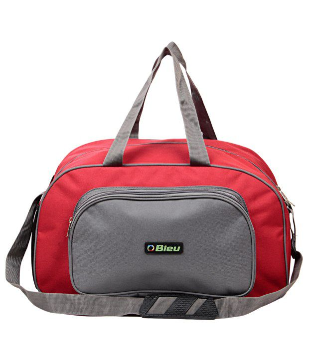 Bleu Durable Red And Grey Duffle Bag Large