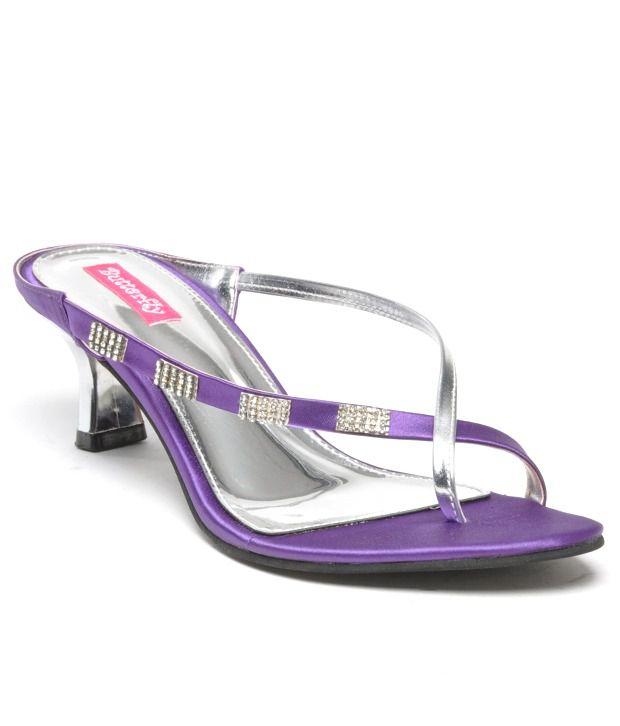 Butterfly Shimmering Purple Slip On Heels