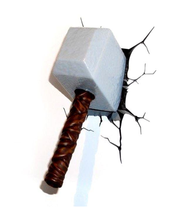 Marvel White 3d Wall Art Thor Hammer Night Light Buy