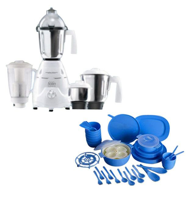 Morphy Richards 4 Jar Icon Supreme Mixer Grinder + Microwave Dinner Set 53 Pcs  available at snapdeal for Rs.7711