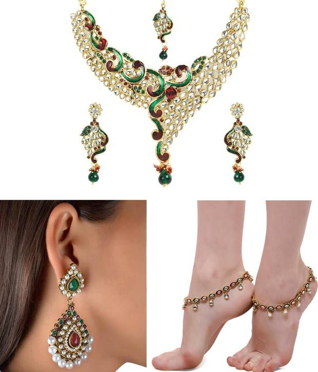 ShinningDiva Exclusive Necklace, Earring and Anklet Combo