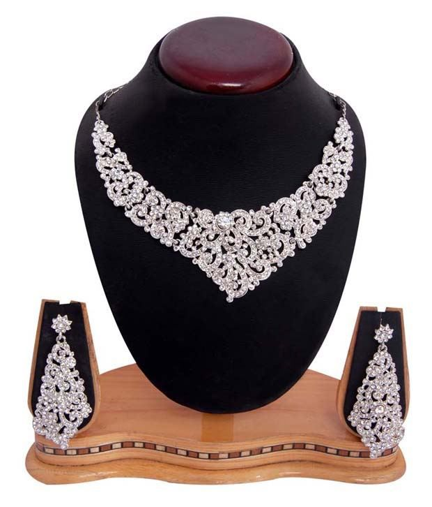 Sukkhi Queen Style Rhodium Plated AD Necklace Set