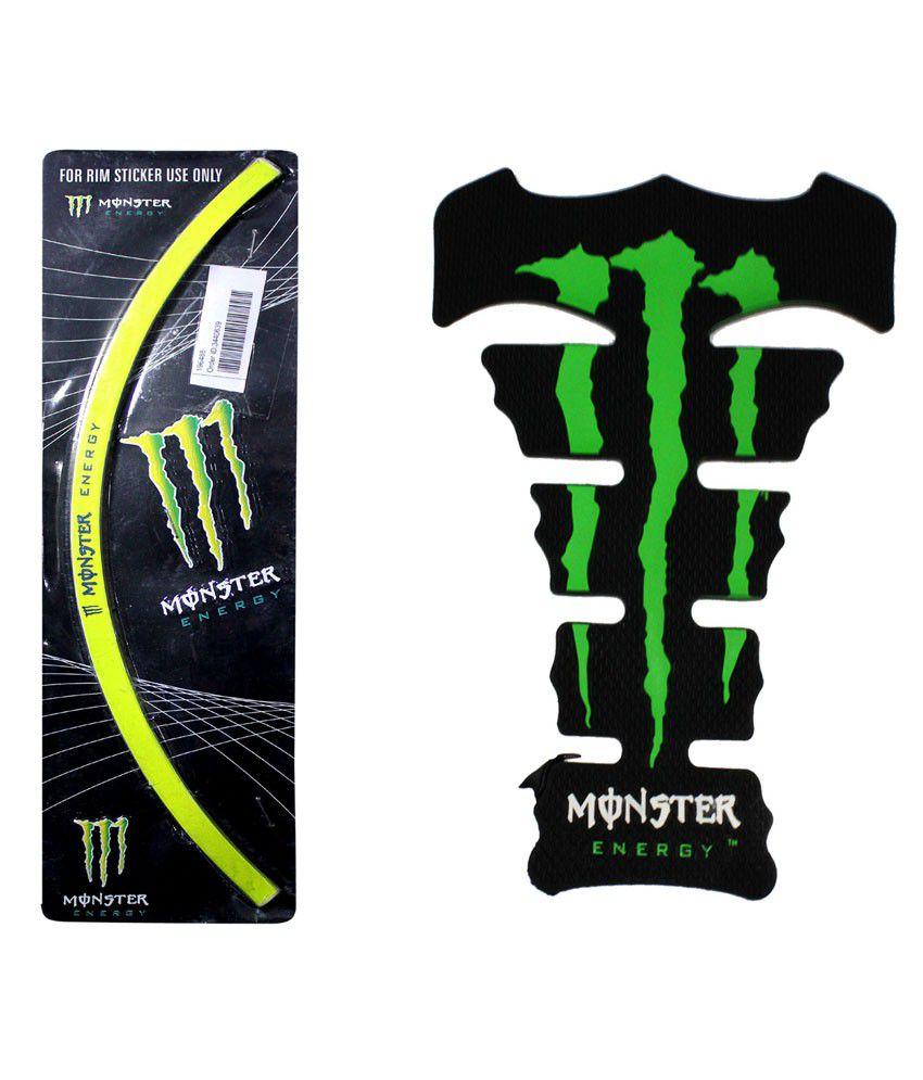 Bike stickers design online india - Vheelocityin Monster Green Bike Tankpad Monster Bike Rim Sticker