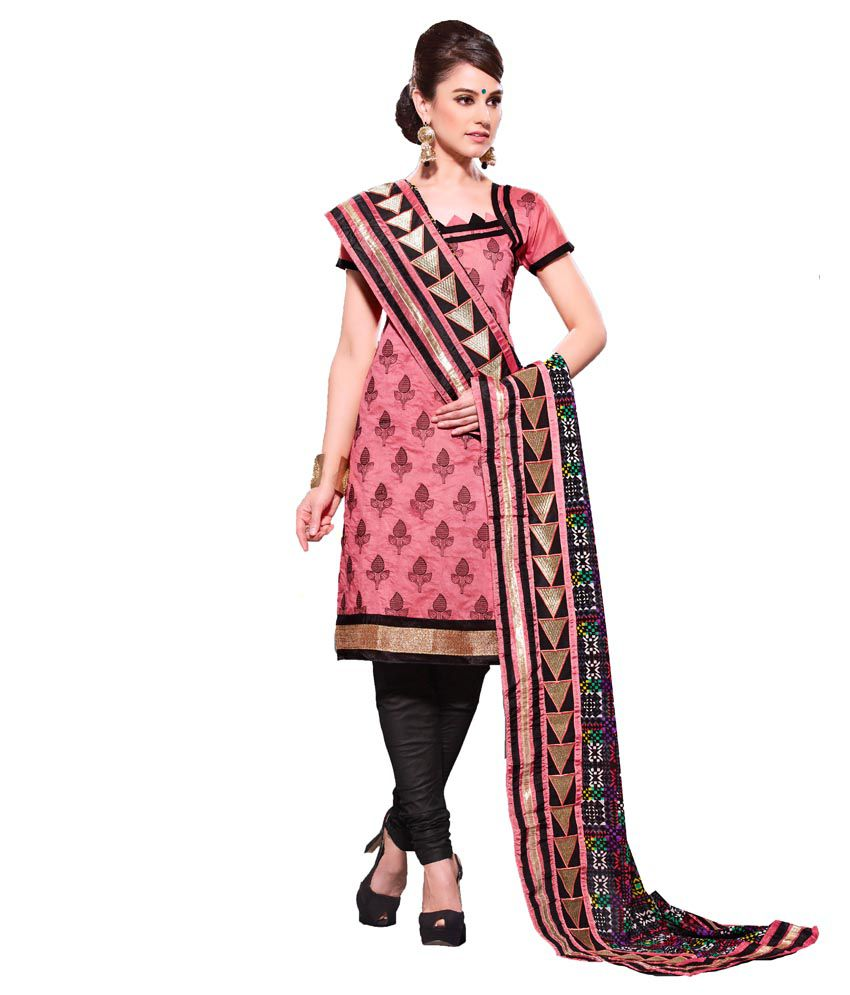 Vineberi beautiful and pretty unstitched embroidered pink