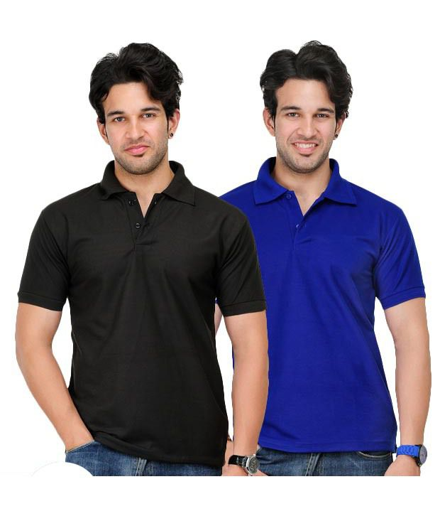 TSX Pack of Black-Royal Blue Polo T-Shirts