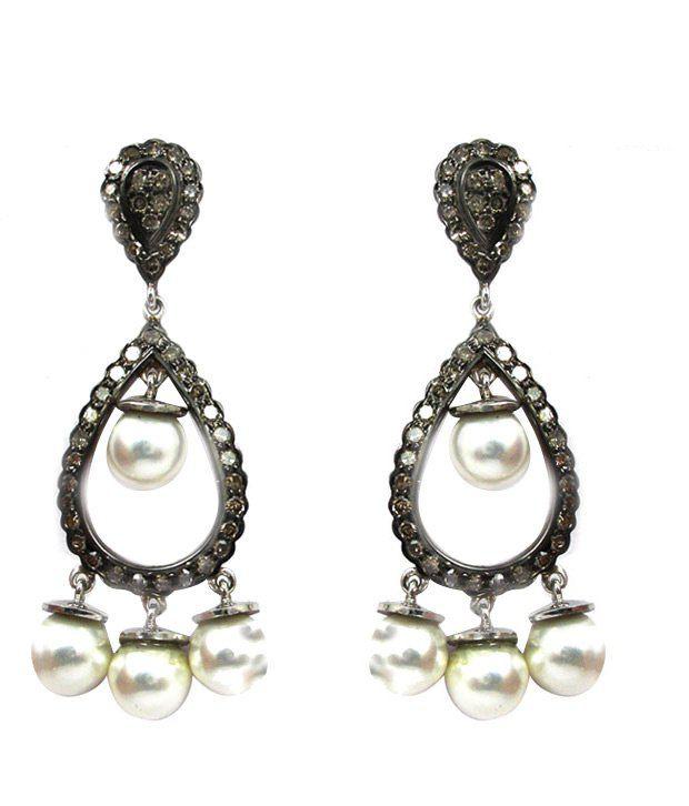AG Victorian Diamond & Pearl Earrings