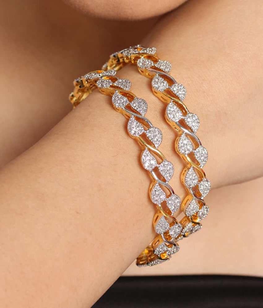 Jwells Amp More Dazzling American Diamond Bangle Pair Buy