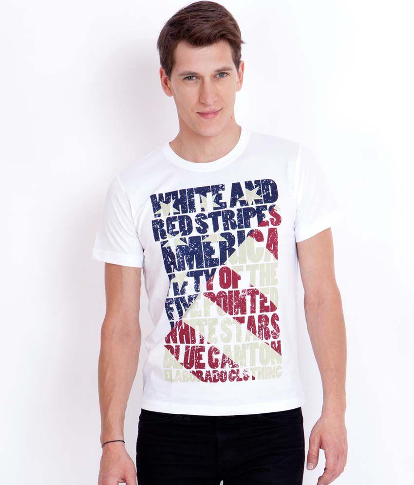 Elaborado American Flag White Printed T-Shirt - Buy Elaborado ...