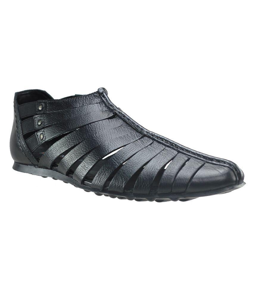 7e38b765238c Franco Leone Mens Leather Sandal Black Price in India- Buy Franco Leone  Mens Leather Sandal Black Online at Snapdeal