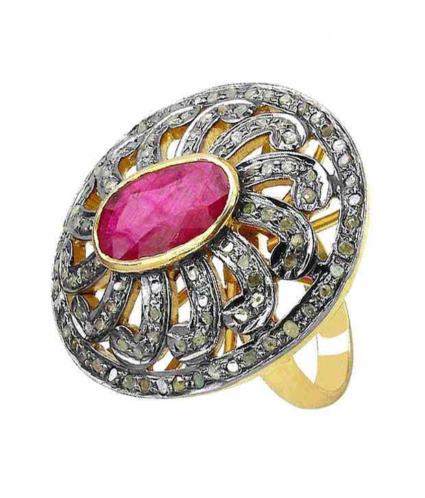 Indian Touch Exquisite Genuine Ruby & Diamond Silver Ring with Free Rakhi