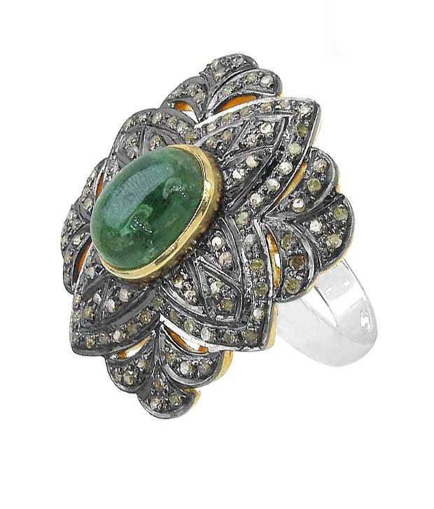 Indian Touch Lavish Genuine Emerald & Diamond Silver Ring with Free Rakhi