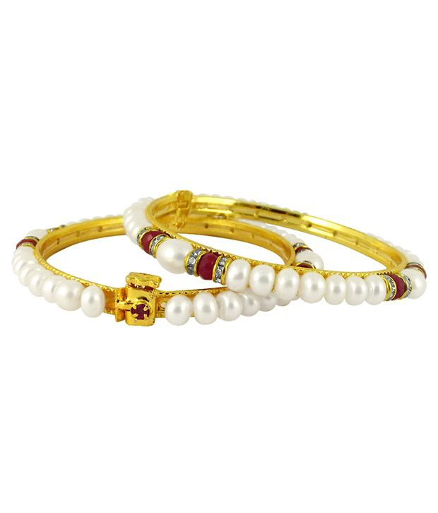 Sri Jagdamba Pearls Chic Pearls & CZ Bangle Pair