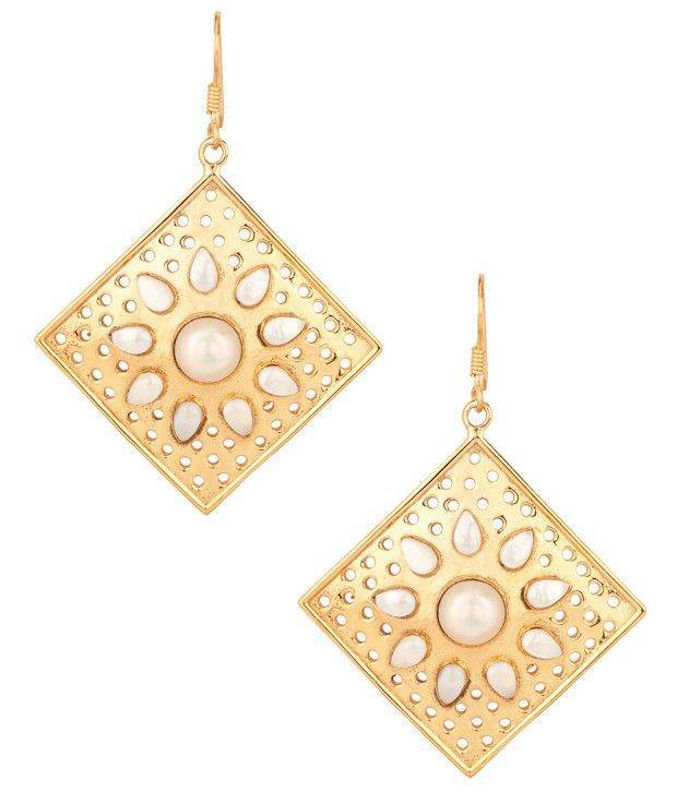 Voylla Gold Plated Rhombic Earrings With Pearl Studded Floral Style